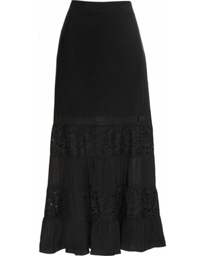 Черная юбка макси с поясом Bonprix