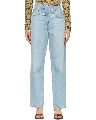 Prosto niebieski jeansy z kieszeniami Agolde