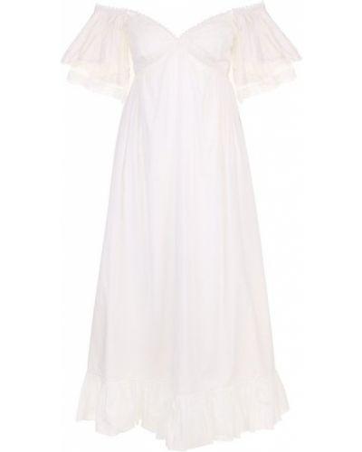 Платье миди с открытыми плечами ажурное Mcq