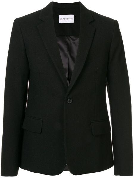 Черный однобортный классический пиджак Strateas Carlucci