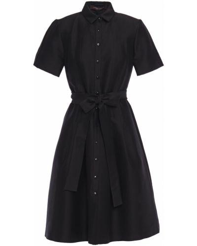 Расклешенное шелковое черное платье-рубашка Carolina Herrera