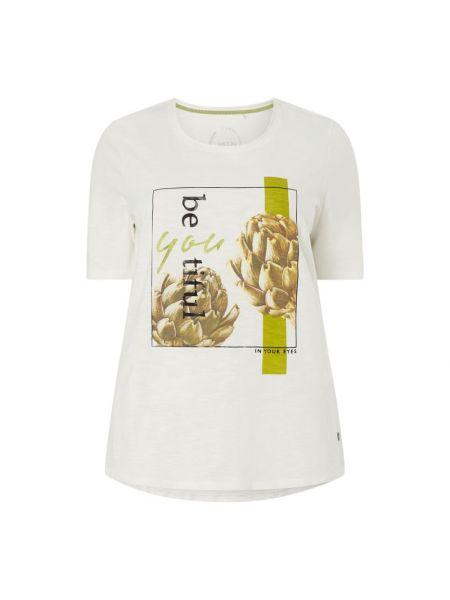 Biały t-shirt z printem bawełniany Samoon