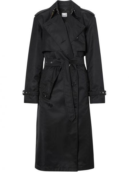 Черное пальто двубортное с поясом Burberry