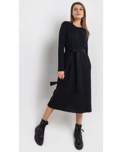 Повседневное черное платье миди из ангоры с поясом Vovk