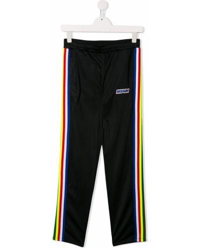 Sportowe spodnie z wysokim stanem z kieszeniami Msgm Kids