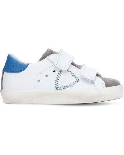Z paskiem biały sneakersy z prawdziwej skóry na hakach Philippe Model