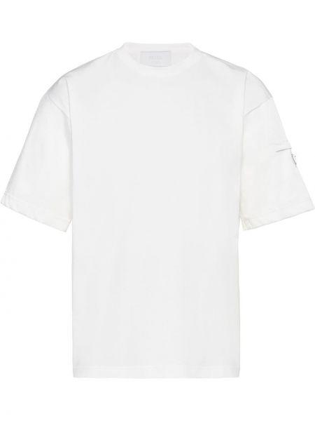 Biały t-shirt bawełniany krótki rękaw Prada