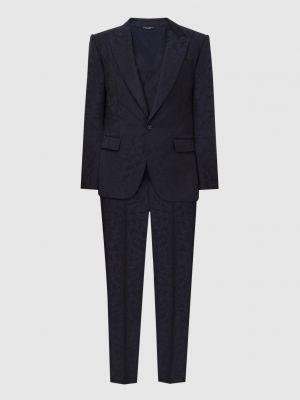 Костюмный шерстяной синий костюм Dolce&gabbana