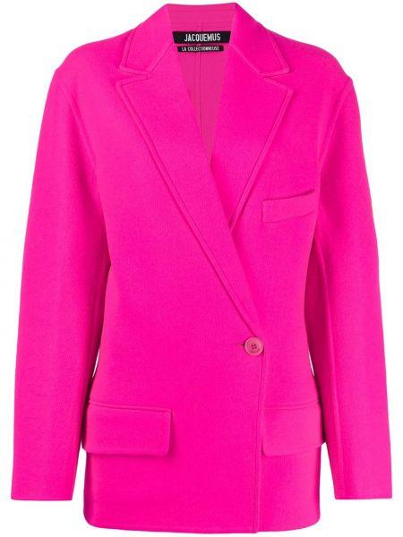 Розовый приталенный удлиненный пиджак с карманами Jacquemus