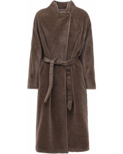 Пальто из альпаки с поясом на пуговицах с лацканами Agnona