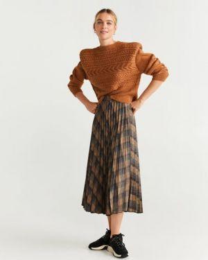 Плиссированная юбка миди шотландка Mango