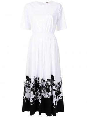 С рукавами белое платье миди с поясом Adam Lippes
