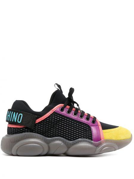 Koronkowa skórzany czarny sneakersy zasznurować Moschino