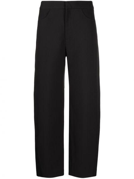 Spodni czarny przycięte spodnie z kieszeniami na hakach Toteme