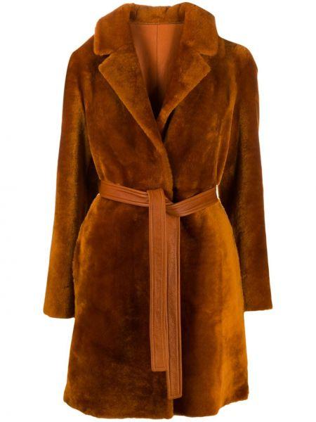 Оранжевое кожаное длинное пальто с карманами Blancha