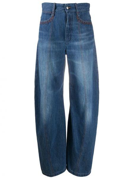 Хлопковые синие с завышенной талией джинсы с высокой посадкой с карманами Chloé