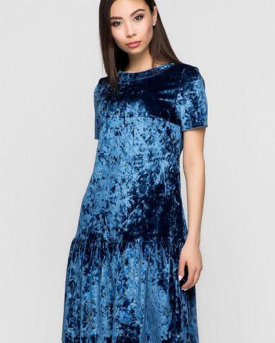 Коктейльное платье весеннее синее A-dress