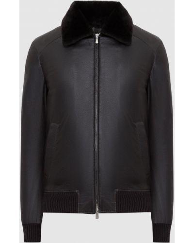 Кожаная куртка с мехом - коричневая Enrico Mandelli
