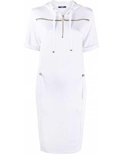 Хлопковое белое платье с капюшоном Liu Jo