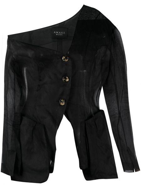Асимметричный черный удлиненный пиджак на пуговицах A.w.a.k.e. Mode