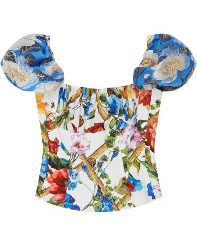 Блузка с открытыми плечами с цветочным принтом с рукавом фонарик Dolce&gabbana