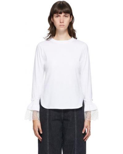 Белая рубашка с воротником с вышивкой с манжетами See By Chloé
