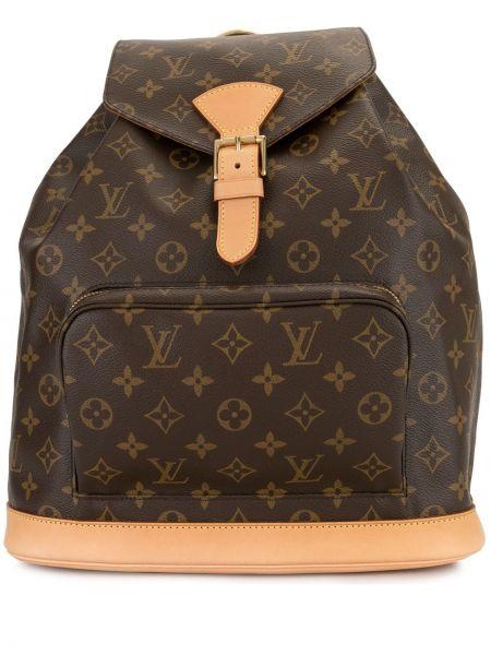 Коричневый кожаный сумка на плечо с карманами Louis Vuitton