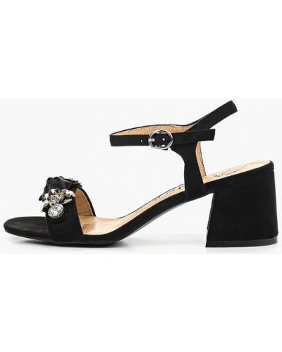Босоножки на каблуке черные замшевые Betsy