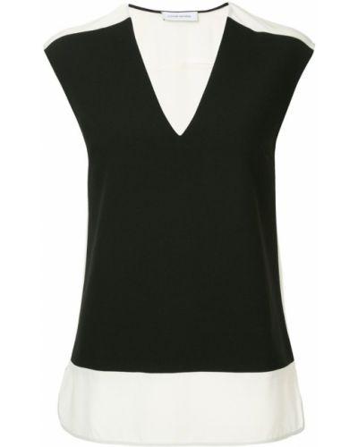Блузка без рукавов с V-образным вырезом черная Costume National