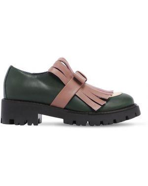 Zielone loafers skorzane z frędzlami Marni Junior