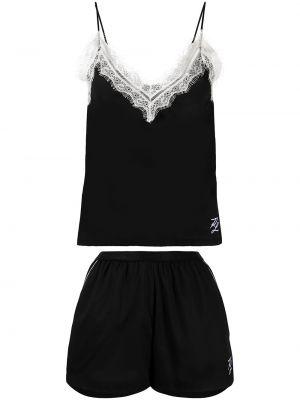 Czarna piżama bawełniana koronkowa Karl Lagerfeld