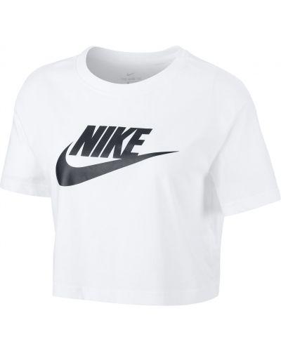 Biały bawełna t-shirt okrągły Nike