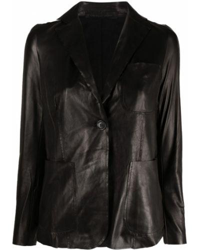Однобортный черный кожаный удлиненный пиджак Salvatore Santoro