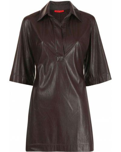 Коричневое прямое кожаное платье мини Manning Cartell