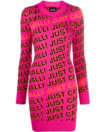 Шерстяное облегающее розовое платье макси Just Cavalli