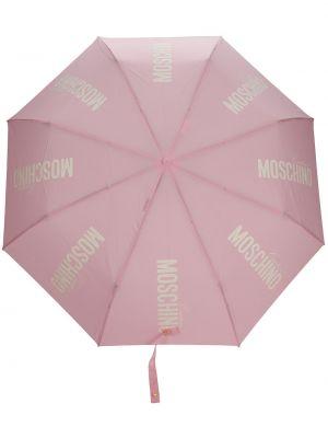 Złoty różowy parasol z printem Moschino