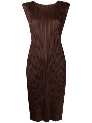 Платье с разрезом - коричневое Pleats Please Issey Miyake