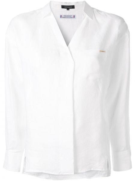 Biała koszula z długimi rękawami z dekoltem w serek Loveless