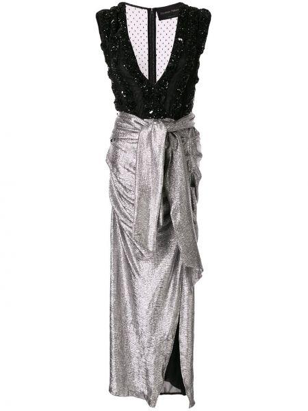 Серебряное платье миди прозрачное с декольте без рукавов Christian Pellizzari
