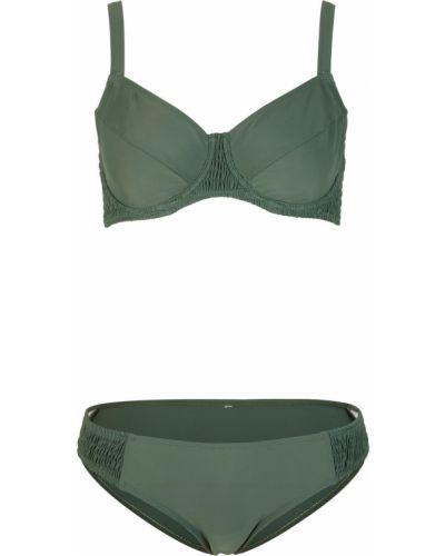 Зеленый купальник раздельный на бретелях со вставками Bonprix