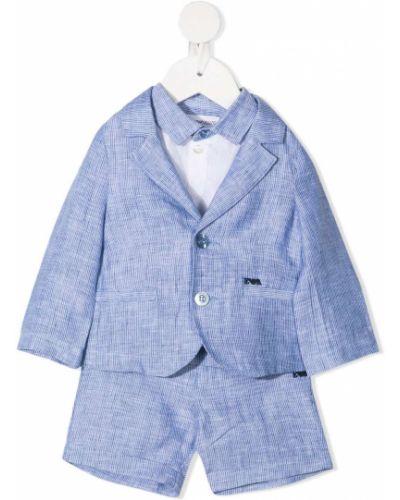 Синий льняной костюм классический с вышивкой Emporio Armani Kids