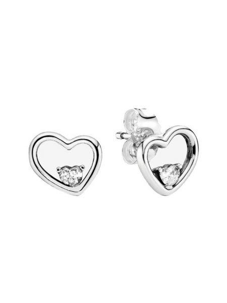 Асимметричные тонкие с цирконием серебряные серебряные серьги Pandora
