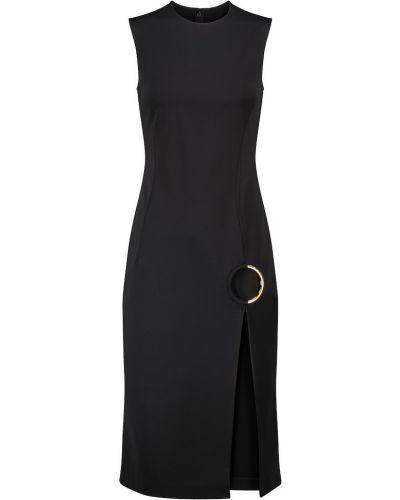 Черное платье миди для полных из вискозы Versace