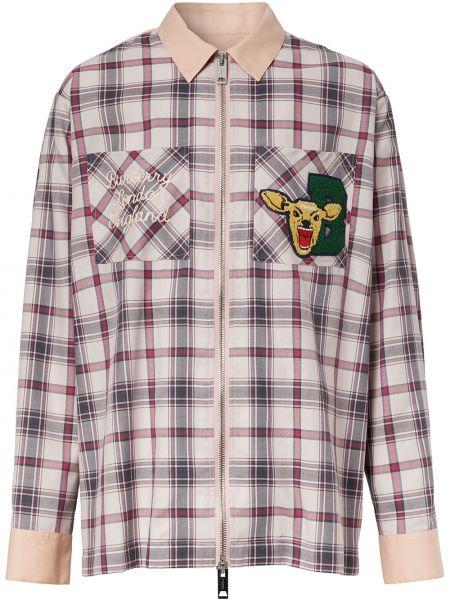 Różowy bawełna z rękawami klasyczna koszula z haftem Burberry