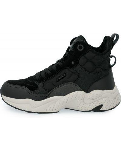 Кожаные черные высокие кроссовки на шнуровке Demix