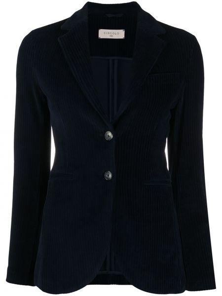 Синий пиджак с карманами на пуговицах с лацканами Circolo 1901