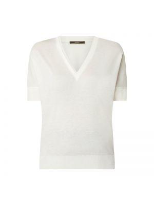Biała bluzka bawełniana z dekoltem w serek Windsor