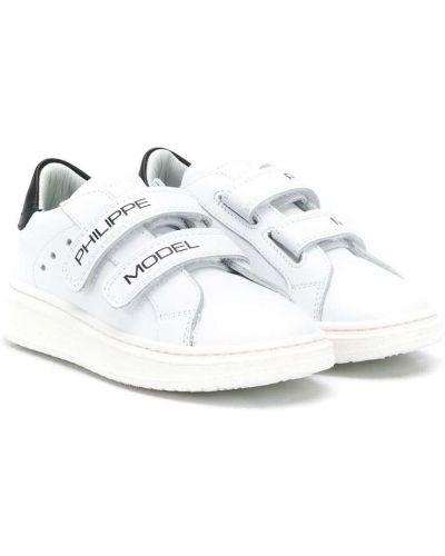 Кожаные белые кроссовки на липучках Philippe Model Kids
