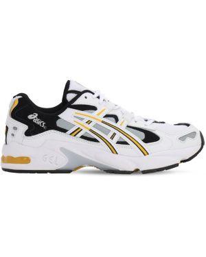 Ажурные белые кожаные кроссовки на шнуровке Asics