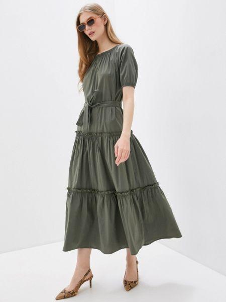 Платье с открытыми плечами зеленый Massimiliano Bini